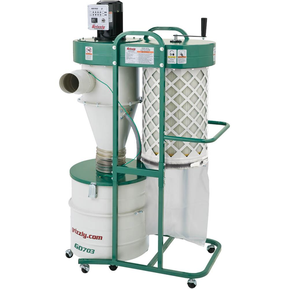 Grizzly G0703 1-1 2 HP 2 Stage Cyclone Dust Collector by Grizzly