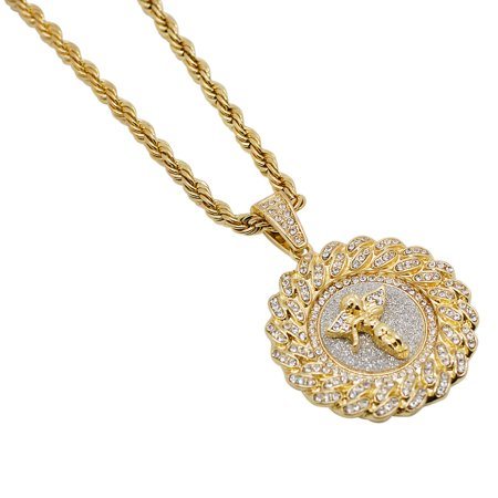 Gold-Plated Iced Out Hip Hop Bling Cuban Link Style Halo Angel Pendant and Rope Chain 24
