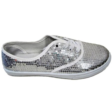 W1412 Women Fashion Sequin Sparkle Lace Up Tennis Sneakers Athletic Shoes Flats Silver
