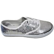 4ecf67aa7095 W1412 Women Fashion Sequin Sparkle Lace Up Tennis Sneakers Athletic Shoes Flats  Silver