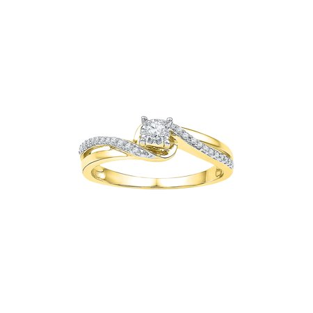 Yellow Round Diamond Solitaire (10kt Yellow Gold Womens Round Diamond Solitaire Bridal Wedding Engagement Ring 1/8 Cttw)