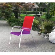 Mainstays Heritage Park Stacking Sling Chair, Color Block, Red