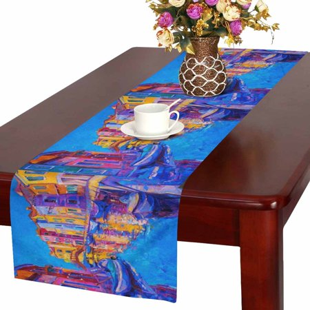 MKHERT Beautiful European Cityscape Venice Italy Modern Oil Painting Table Runner Home Decor for Wedding Party Banquet Decoration 16x72 - Italy Table Decorations