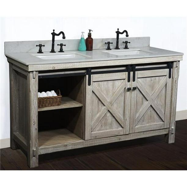 Infurniture Wk8560 Ap Top 60 In Rustic, Country Style Bathroom Vanity