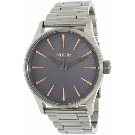 Nixon Mens Sentry 38 A4502064 Silver Stainless Steel Quartz Dress Watch