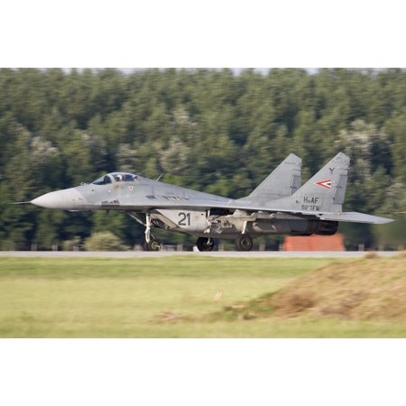 Hungarian Air Force MiG-29A landing on the runway in Kecskemet Hungary  Poster Print