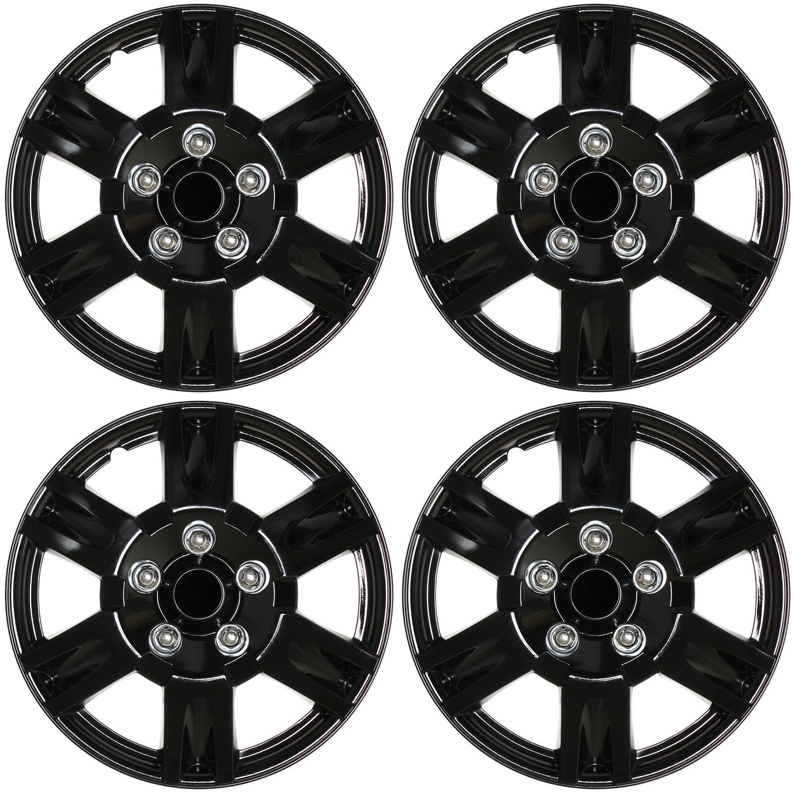 """Cover Trend (Set of 4) Ice Shiny Black Aftermarket 15"""" Inch Hubcaps for Nissan Altima Replica Wheel Covers"""