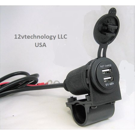Highest Power 4.8 Amp USB Charger Socket 12V Motorcycles Handlebar Mount And Wires - Safety Wire Motorcycle