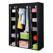 Portable Closet Storage Organizer Wardrobe Clothes Rack With Shelves Black