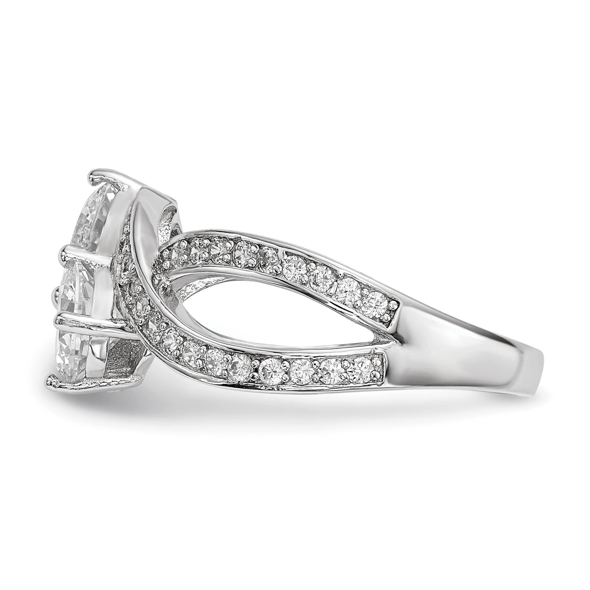925 Sterling Silver Cubic Zirconia Cz Two Stone Band Ring Size 8.00 Fine Jewelry Gifts For Women For Her - image 2 of 3