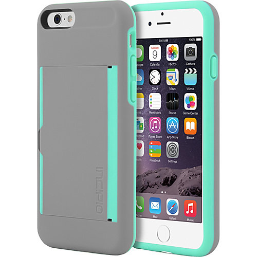 Incipio Stowaway Case Cover for Apple iPhone 6 / iPhone 6S (Gray/Teal) - IPH-1185-GRYTEAL