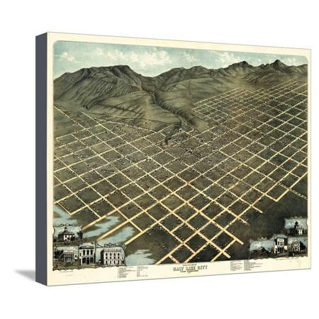1870, Salt Lake City Bird's Eye View, Utah, United States Stretched Canvas Print Wall