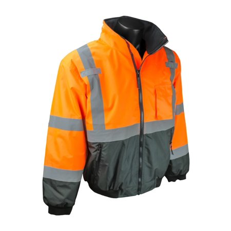 SJ110B-3ZOS-3X Class 3 Two-In-One High Visibility Bomber Safety Jacket, 3X-Large, Hi-Viz Orange, Zip out removable fleece liner with lined sleeves By