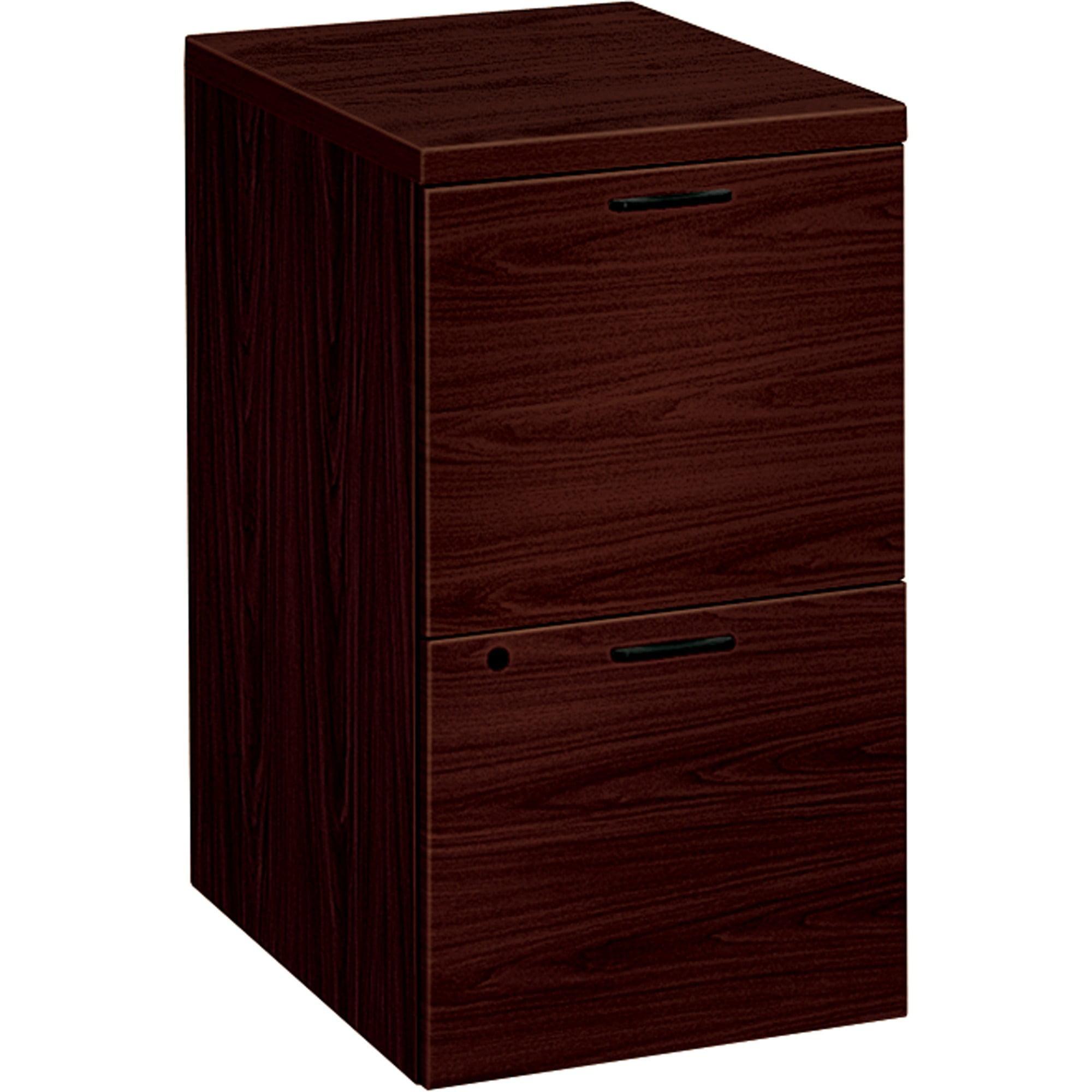 HON 2 Drawers Vertical Lockable Filing Cabinet, Brown