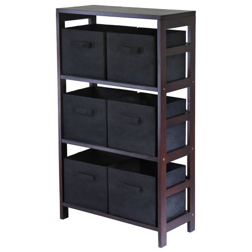 Winsome Capri 3-Section M Wood Storage Shelf Bookcase with 6 Foldable Black Fabric Baskets