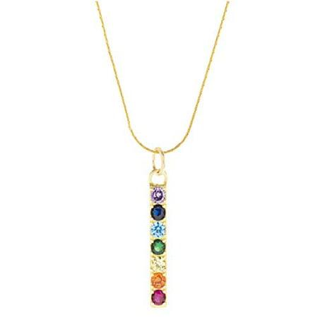 Seven Saints Chakra Align Rainbow Bar Necklace, 18k Gold Vermeil - 16 inches 18k Titanium Necklace