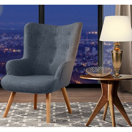 Accent Chair for Living Room, Upholstered Linen Arm Chairs with Tufted Button Detailing and Natural Wooden Legs (Light Grey) ()
