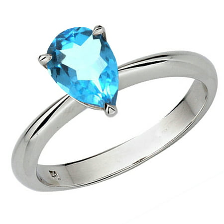 Blue Topaz Pear Ring - Dazzlingrock Collection Sterling Silver 9X7 MM Pear Cut Blue Topaz Solitaire Bridal Engagement Ring, Size 9