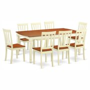 East West Furniture Dover 9 Piece Rectangular Dining Table Set with Antique Wooden Seat Chairs