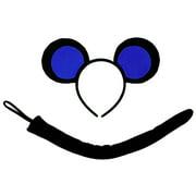 SeasonsTrading Blue Black Mouse-A-Like Ears Headband & Tail Costume Set - Cute Mickey Three Blind Mice Party Kit, Halloween, Birthday