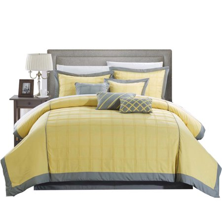 Yellow Comforter - Rhodes Pintuck 12 Piece Comforter Set Bed In A Bag King & Queen Yellow