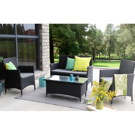 Surprising Baner Garden Outdoor Furniture Complete Patio Pe Wicker Rattan Garden Set Black 4 Pieces Home Interior And Landscaping Ologienasavecom