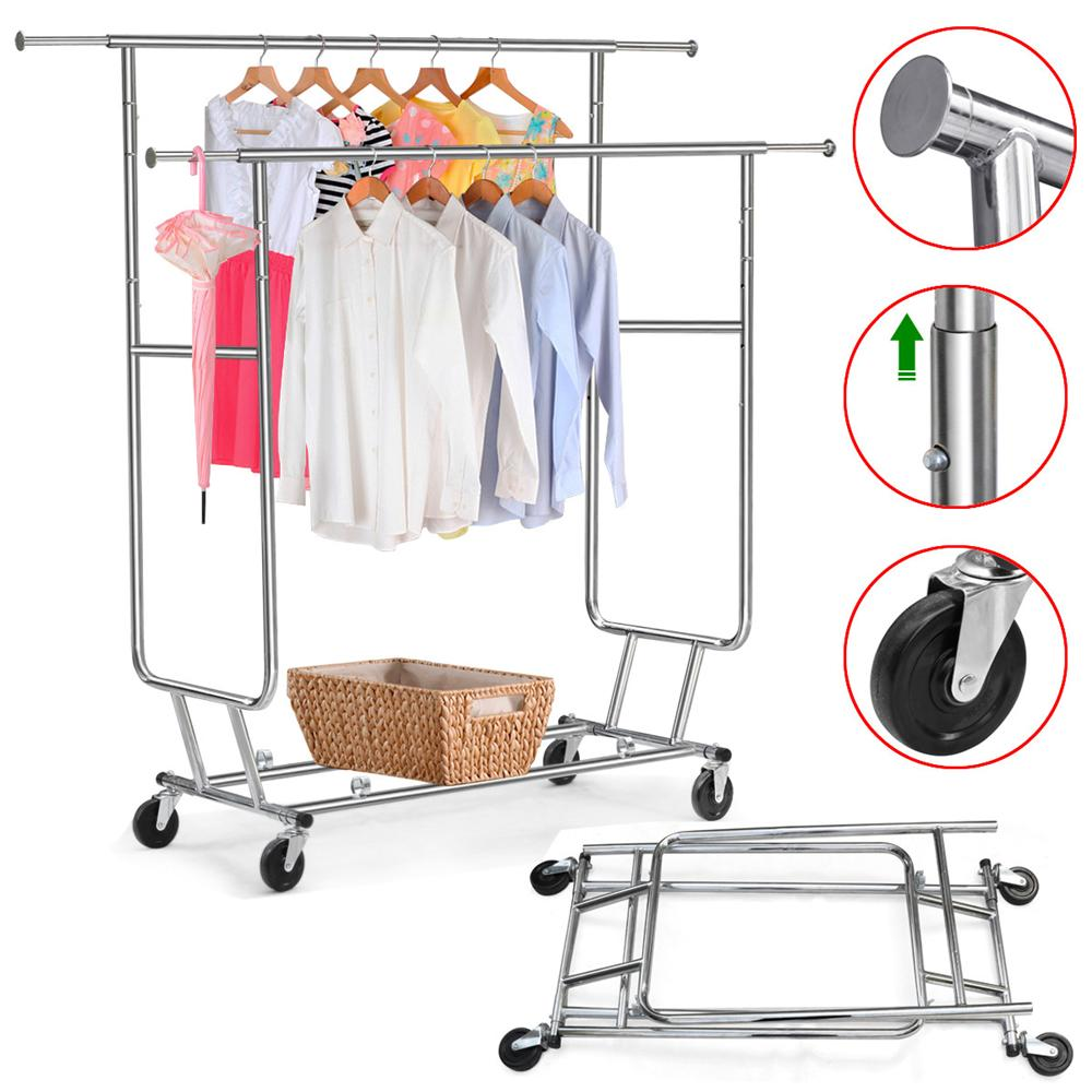 yaheetech clothing rack rolling garment rack doublerail clothing hanging rackchrome finish