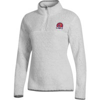 Women's Russell Athletic White Kansas Jayhawks Sherpa Quarter-Zip Pullover Jacket