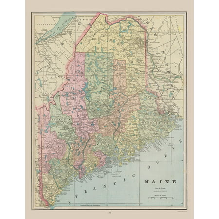 Old Maine Map.Old State Map Maine Cram 1892 23 X 29 86 Walmart Com