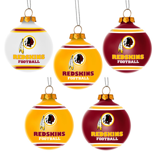 Forever Collectibles NFL 5-Pack Shatterproof Ball Ornaments, Washington Redskins