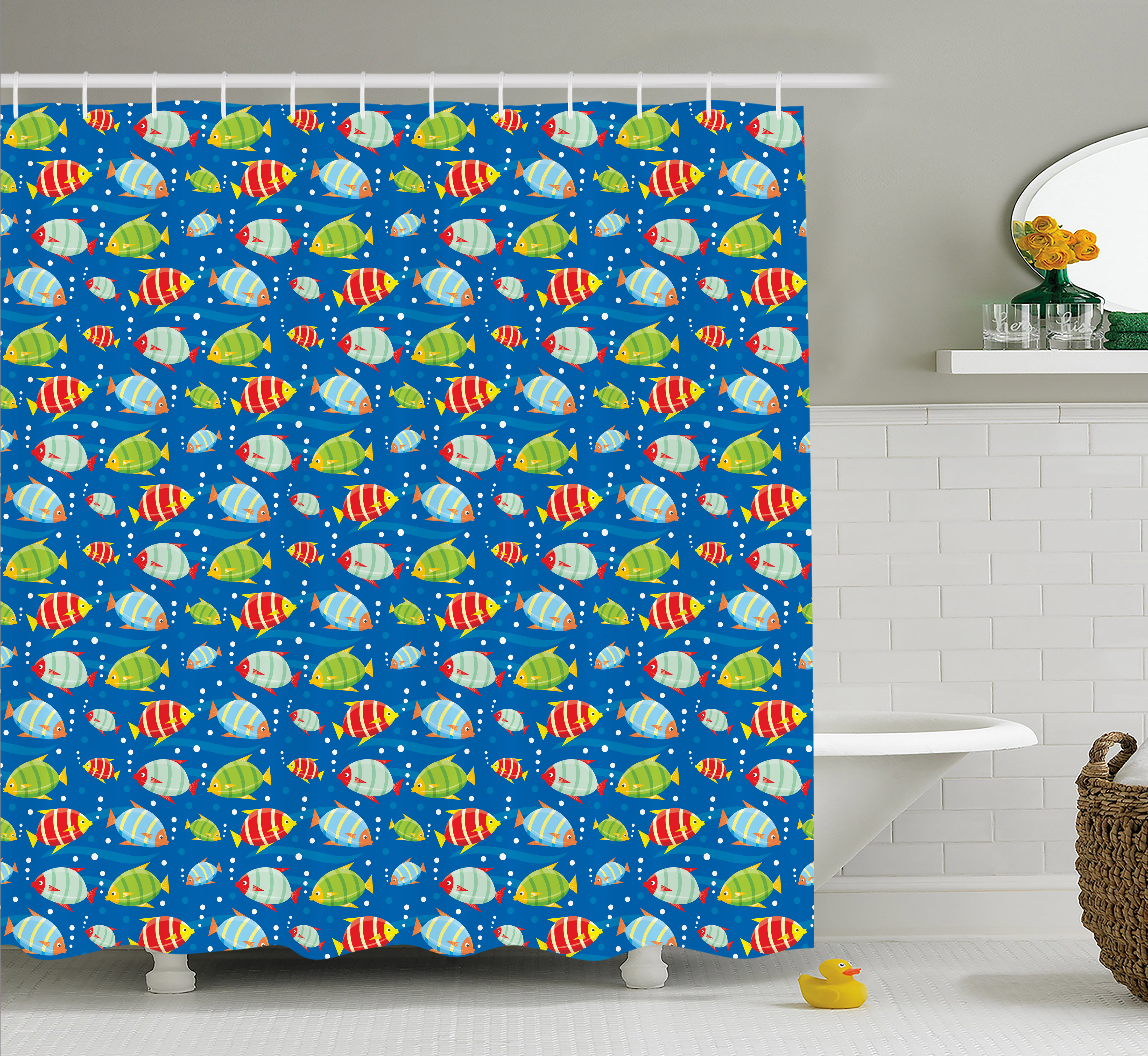 Boy's Shower Curtain, Colorful Striped Cartoon Fishes Swimming in the Sea with Bubbles Aquatic Life Theme, Fabric Bathroom Set with Hooks, 69W X 70L Inches, Multicolor, by Ambesonne