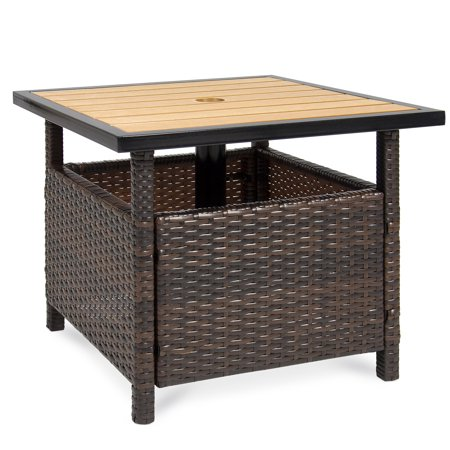 Best Choice Products Wicker Patio Umbrella Stand Table with Umbrella Hole, Outdoor Furniture for Garden, Pool, Deck w/ UV Resistant Frame - Brown ()