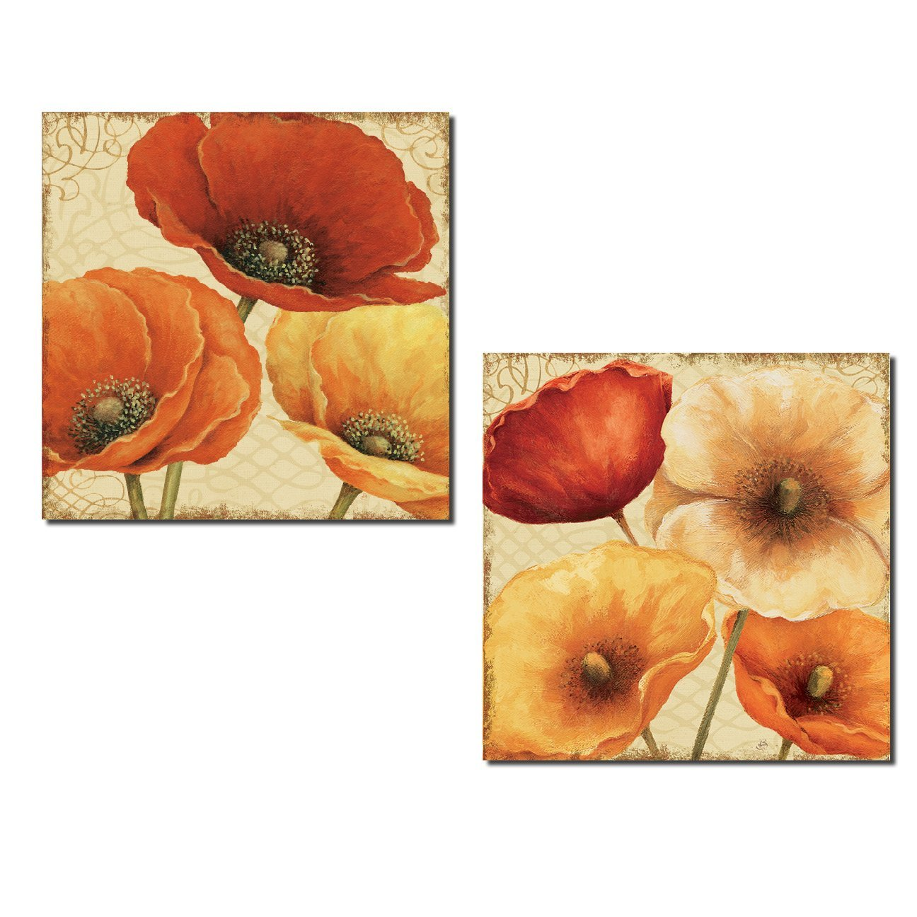 Gorgeous Red and Orange Blooming Flowers by Lisa Audit; Floral Decor; Two 12x12in Poster Print