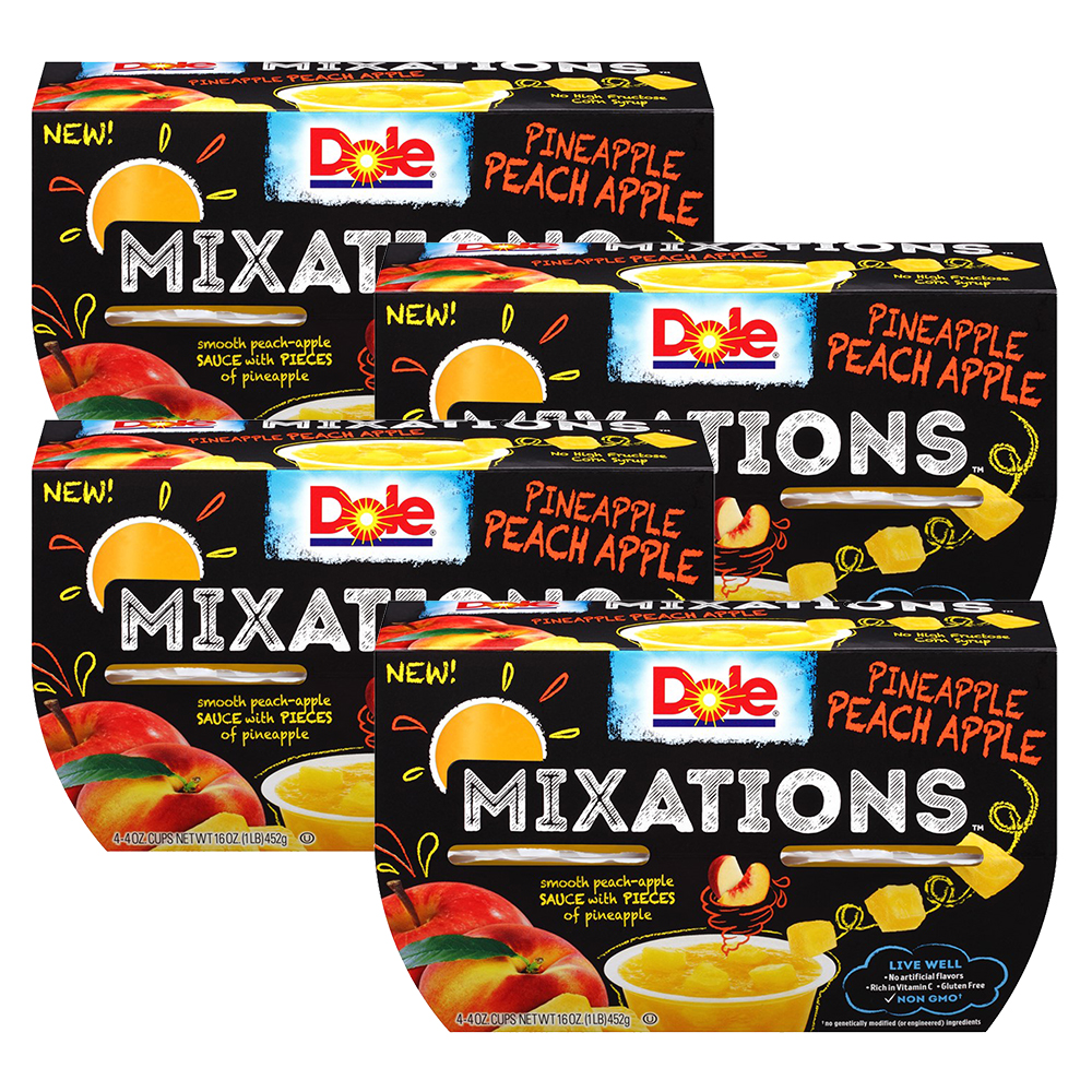 (4 Pack) Dole Fruit Bowls, Mixations Pineapple Peach Apple, 4 Ounce (4 Cups)