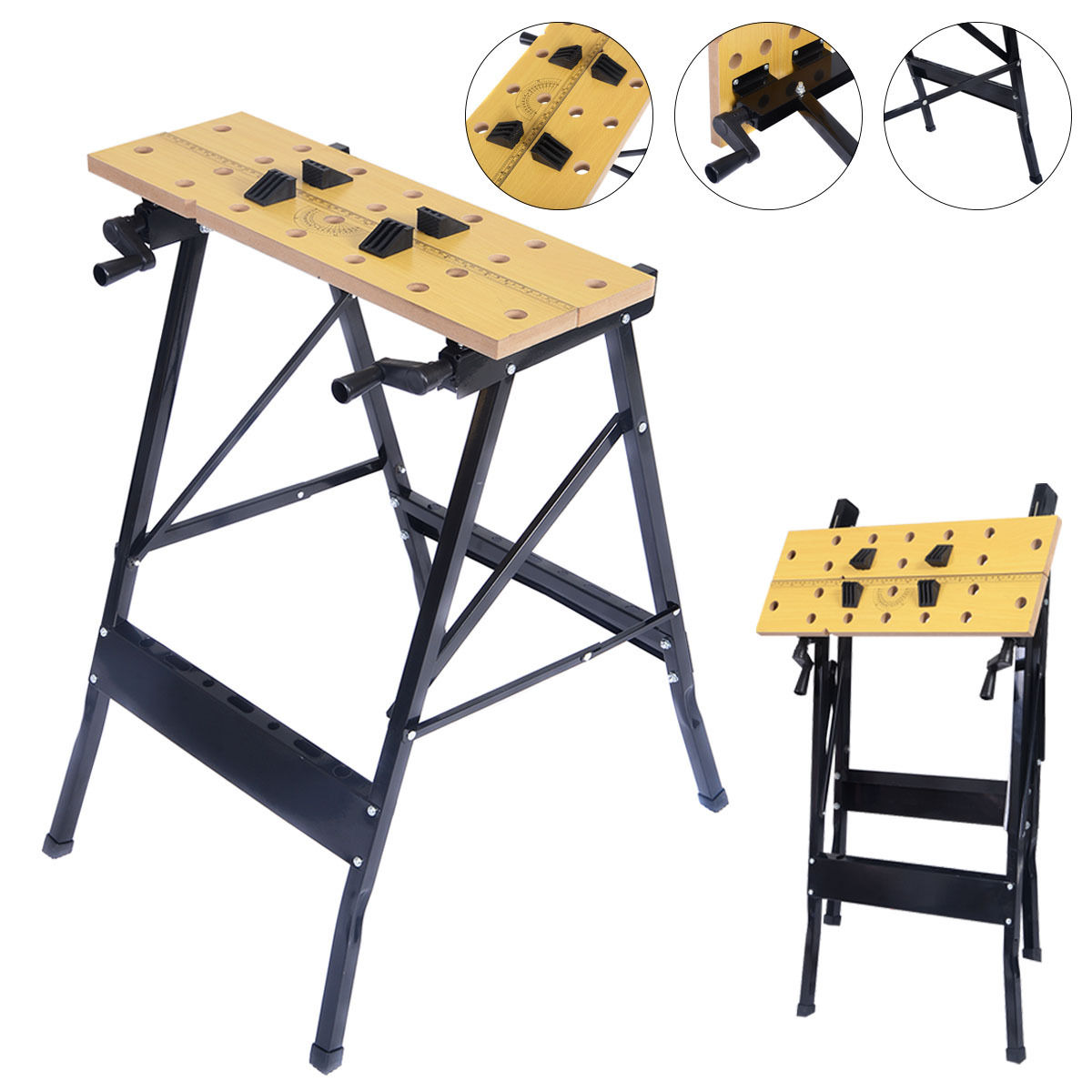 Costway Folding Work Bench Table Tool Garage Repair Workshop