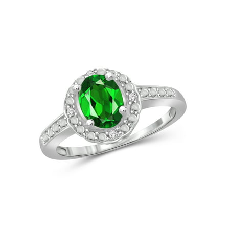 1 1/5 Carat T.G.W. Chrome Diopside and 1/20 Carat T.W. White Diamond Sterling Silver Ring