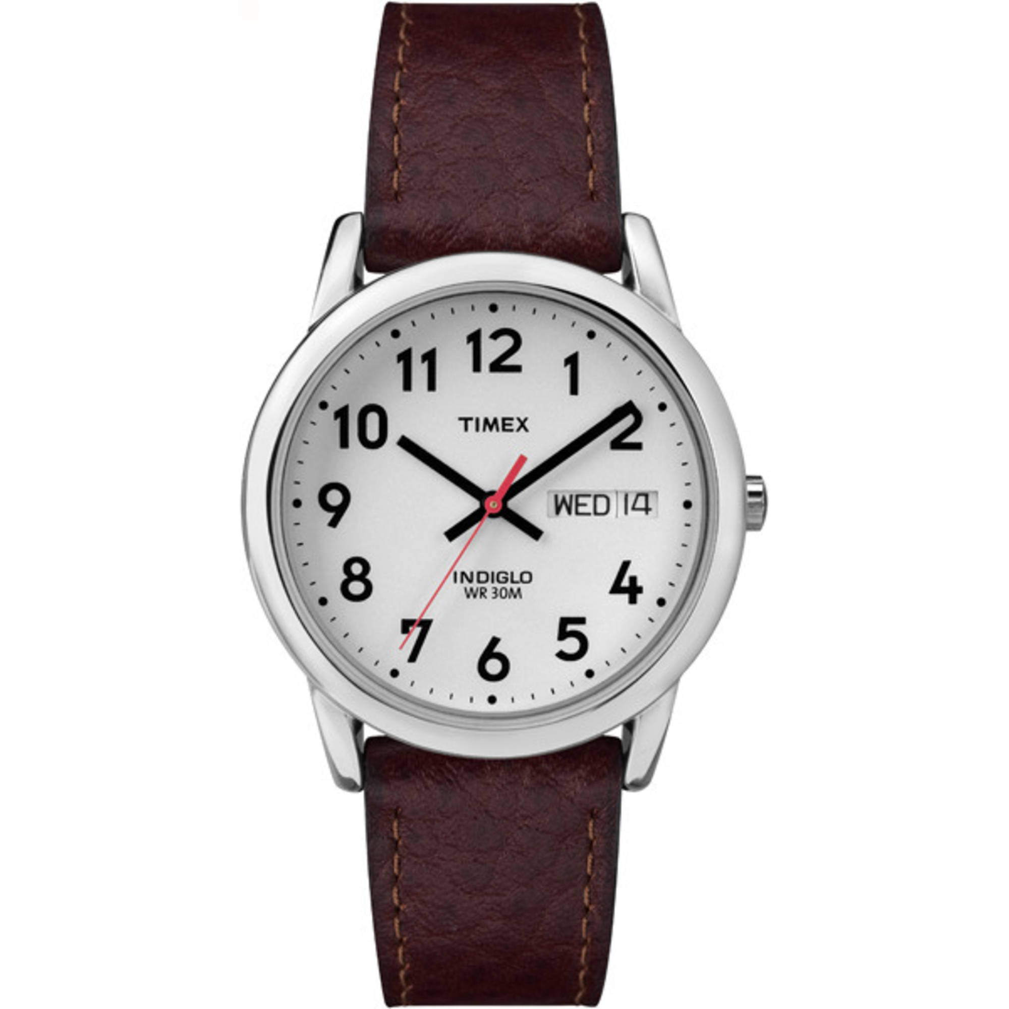 Timex Men's Easy Reader Watch, Brown Textured Leather Strap