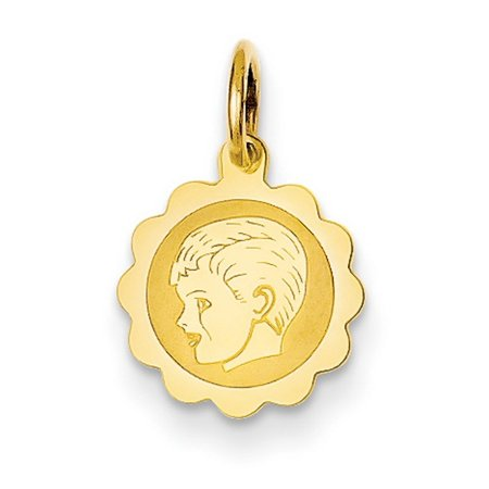 14k Yellow Gold Boy Head on .009 Gauge Engravable Scalloped Disc Charm Pendant (Scalloped Shell Charm)