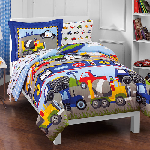 Dream Factory Trucks Reversible Twin Comforter Set with SHeets by CHF Industries Inc