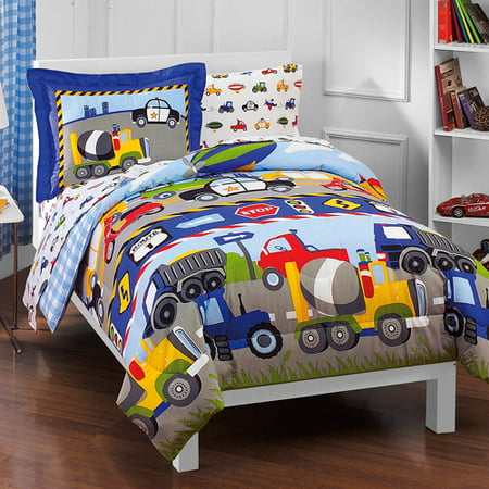 Dream Factory Kids Trucks & Transportation Twin Bed in a Bag Bedding set w/ Reversible Comforter