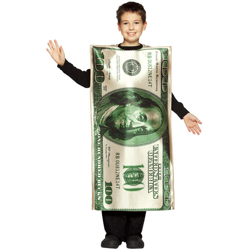 One Hundred Dollar Bill Child Halloween Costume - One Size