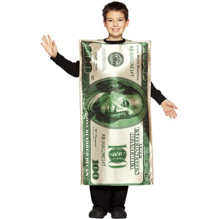 One Hundred Dollar Bill Child Halloween Costume - One Size - Bill Halloween Costume