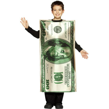 One Hundred Dollar Bill Child Halloween Costume - One Size - Halloween Costumes Under 20 Dollars