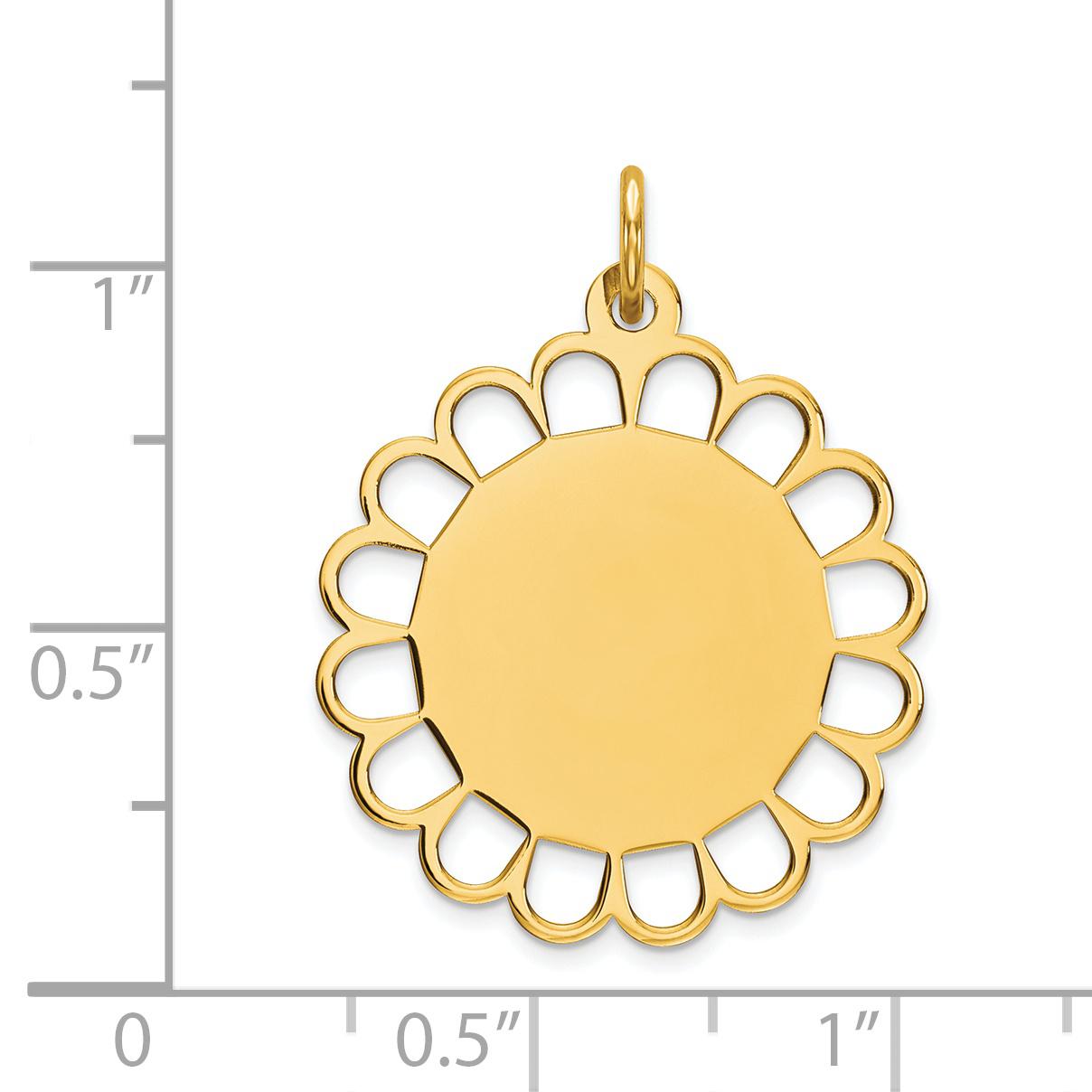 14K Yellow Gold Plain .018 Gauge Engravable Flower Disc Charm - image 1 of 2