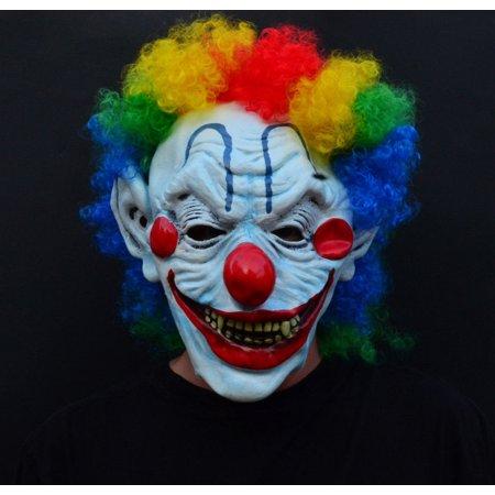 Creepy Evil Scary Halloween Clown Mask Latex CURLY MOE CLOWN - Latex Clown