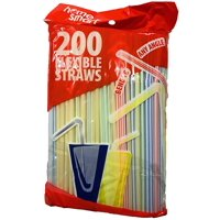 """Home Smart 200ct Disposable - Flexible - Multi-Colored 8.25"""" Drinking Straws"""