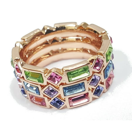 Stack Look Ring - Crystal-Elements 3 Stack Ring Set 18k Gold Plated - Multicolor
