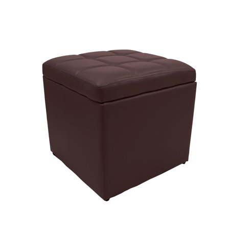 Admirable 16 Square Unfold Leather Hinged Storage Ottoman Bench Footstool Cocktail Seat Brown Machost Co Dining Chair Design Ideas Machostcouk