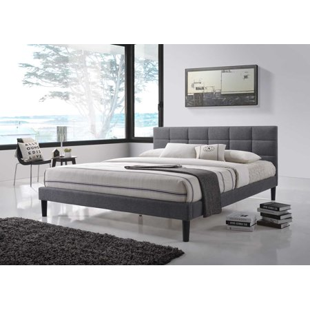 Image of Altozzo Lexington Square Tufted Upholstered Contemporary Queen Bed