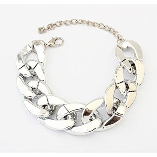 Punk Style Chunky Curb Shiny Chain Womens Fashion Bracelet, Silver